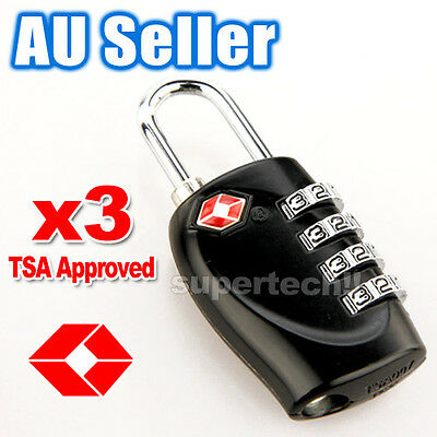 3x New TSA Approved 4-Dial Luggage Locks Combination Padlock Travel Suitcase AU