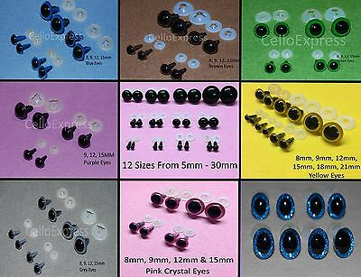Various EYES with PLASTIC BACKS for Teddy Bear Making Soft Toy Doll Animal Craft