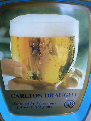 CUB CARLTON DRAUGHT Beer Metal Beer Tray VG Vintage for MAN CAVE etc - in Aust