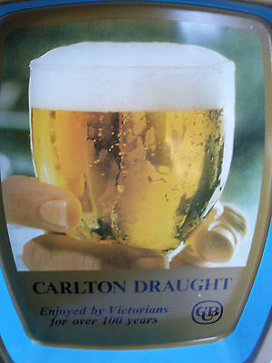 Vintage CUB CARLTON DRAUGHT Beer Metal Beer Tray VG MAN CAVE Collectable in Aust