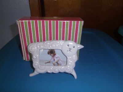 (NEW) Little Girl with a Curl - Pink -(Square frame) Lamb-- by Gorham For Lenox