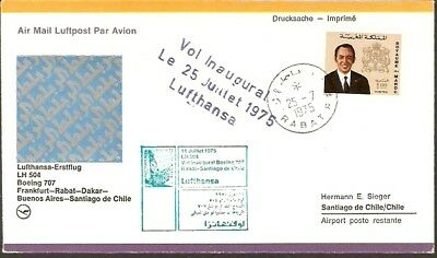 2133 MOROCCO TO CHILE FFC FIRST FLIGHT COVER 1975 LUFTHANSA B-707