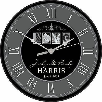 Personalized Laser Engraved Wall Clock, LOVE- Great Wedding or Anniversary Gift!
