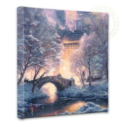 Thomas Kinkade Holiday at Central Park 14 x 14 Gallery Wrapped Canvas
