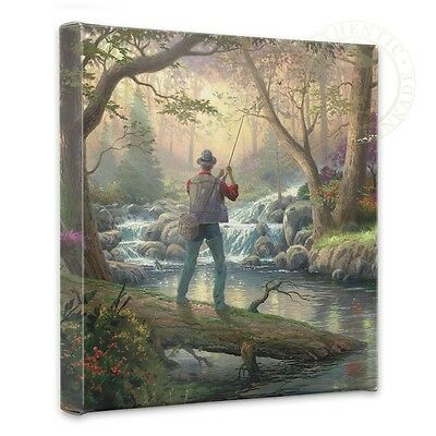 """Thomas Kinkade - It Doesn't Get Much Better  14"""" x 14"""" Gallery Wrapped Canvas"""