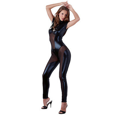 Black Wet Look And Mesh Jumpsuit With Gusset Bust Openings, Sizes: Xs-Xl