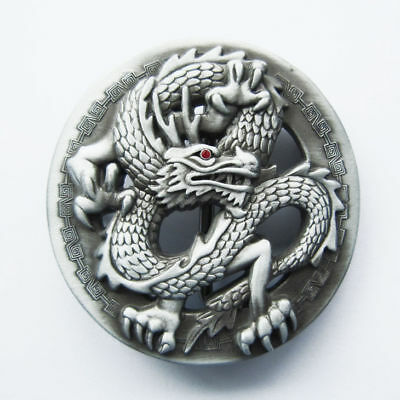 Fantasy Asian Dragon And Monk Chrome Finished Belt Buckle
