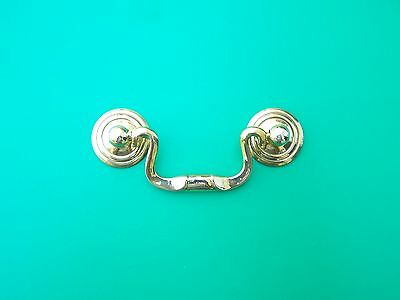"Swan Neck Drawer Pull Victorian Fancy Solid Brass, 3 1/2"" Cc,  Rosettes  1"" Dia."