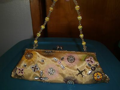 (NEW) Evening Handbag-Clutch-Gold with beads/sequins