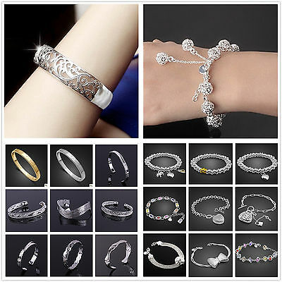 Wholesale Fashion Jewelry 925Solid Silver Bracelet/bangle Lady Mens + Gift box