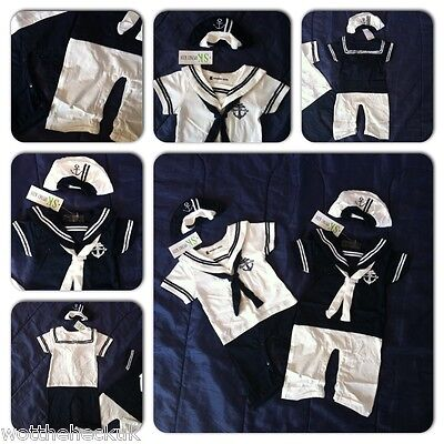 Baby Newborn Boys Sailor Infant Romper Hat Fancy Dress Jumpsuit Playsuit Cotton