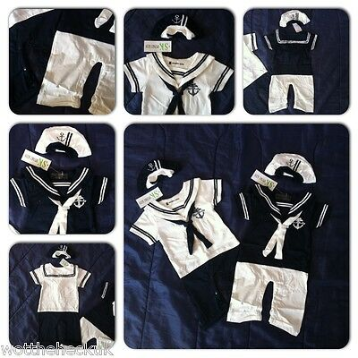 UK Newborn Baby Boy Infant  Romper 0-24M Bodysuit Playsuit Outfits Anchor Sailor