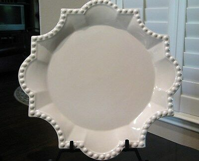 """Antheor France ~ 14 3/4"""" Serving Platter GRAND CIECLE IVORY Beaded Scalloped"""