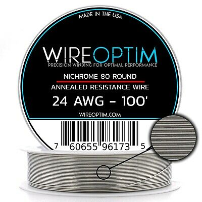 24 Gauge AWG Nichrome 80 Wire 100' Length - N80 Wire 24g GA 0.51 mm 100 ft
