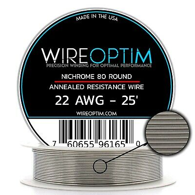 Nichrome 22 Gauge AWG Wire 25ft Roll .64mm , 1.0363 Ohms/ft Resistance