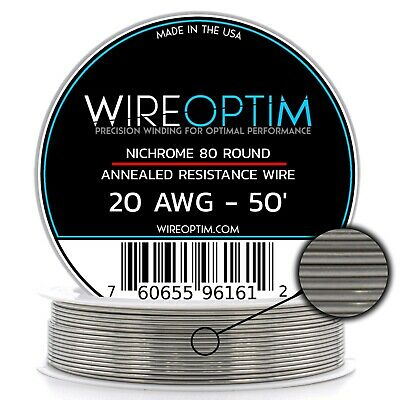 Nichrome 20 Gauge AWG Wire 50ft Roll .81mm , 0.652 Ohms/ft Resistance