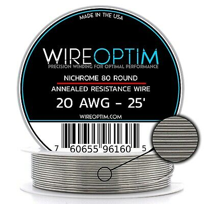 20 Gauge AWG Nichrome 80 Wire 25' Length - N80 Wire 20g GA 0.81 mm 25 ft