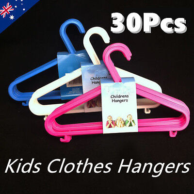 30 Kids Children Plastic Clothes Cloth Coat Pant Hangers Hooks Bulk Rack