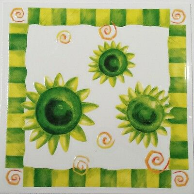 Green Flower Rub On Permanent Transfer Decal Tile Glass Plastic DT53