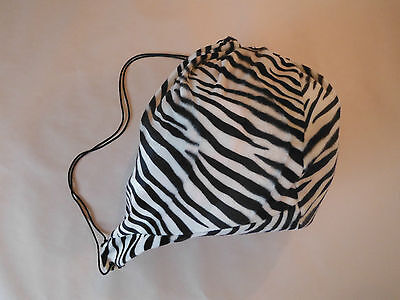 Zebra Animal Print Pattern Furry Helmet Bag Tote Storage Cover - black & white