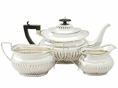 Sterling Silver Three Piece Tea Set - Antique Edwardian 981g