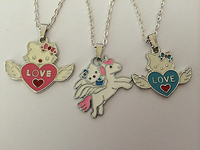 """HELLO KITTY CUTE GIRLS CHILD NECKLACE  16"""" 18""""SILVER PLATED CHAIN PRESENT GIFT"""