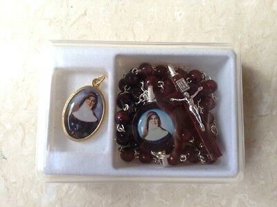 SAINT MARY MACKILLOP WOODEN ROSARY BEADS  & medal boxed