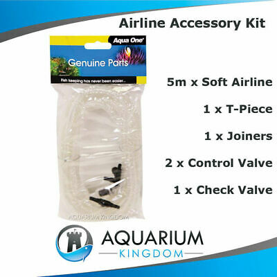 #10408 Aqua One Airline Kit 5M Air Line/Tubing, Check Valve, Tap T-Piece Joiner