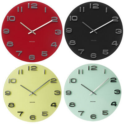 Karlsson Round Pastel Vintage Glass Wall Clock  35cm Diameter Various Colors