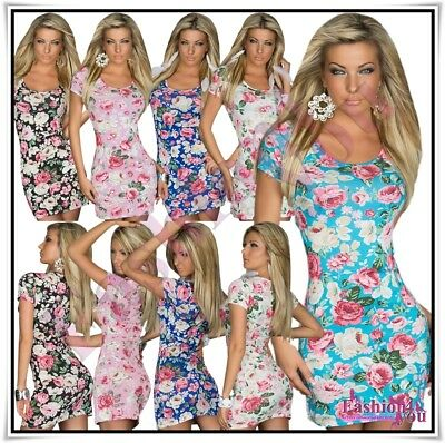 Sexy Women's Floral Mini Dress Ladies Summer Casual Sundress One Size 8,10,12 UK
