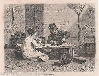 Old print gravure Nacre workers China 1879 antique