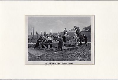 Antique matted print :youth playing / Urk Holland 1928