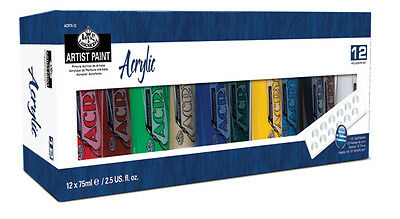 Royal Langnickel Artist Acrylic 12 x 75ml Paint Tube Box Set. Assorted Colours