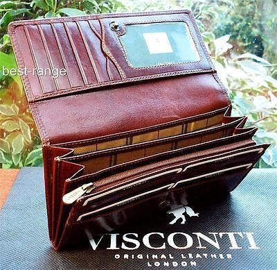 Ladies Purse Wallet Genuine Leather Brown Visconti New in Gift Box (MZ10)
