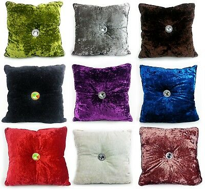 Cushion Crush Velvet Cushions Luxury Diamante Chic Filled Scatter Cushion square