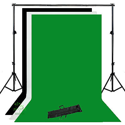 Photo Studio Background Support Stand Kit Backdrop White Black Green New UK