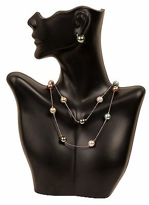 Necklace and Earring Bust Jewelry Display, Black, Stand Holder Showcase, New