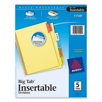 Avery Worksaver Big 5 Tab Insertable Dividers LOT OF 5 pks Total of 25 tabs