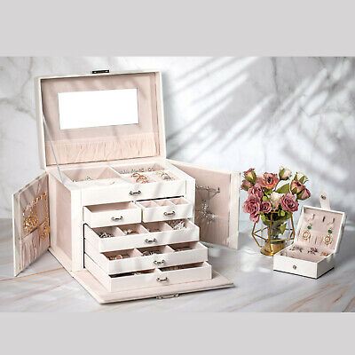 Large Jewellery Box Rings Necklace Storage Organiser Bracelet Display Case Gifts