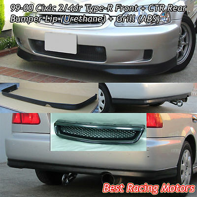 99-00 Civic 2dr Type-R Front (PU) + CTR Rear Lip (PU) + Grill (ABS)