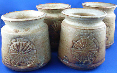 Christopher Sanders CS Hand-crafted Abstract Pottery Cup Tumblers VG - In Aust