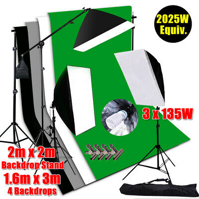2025W Photography Soft Box Light Softbox Lighting Screen 4X Backdrops Stand Kit