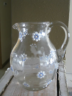 ANTIQUE HAND PAINTED MINI GLASS PITCHER CHILDREN delicate DAISY pontil base toy