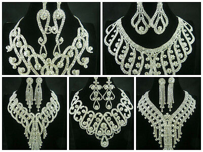 Royal Gorgeous Clear Crystal Rhinestone Bib Big Necklace Set Bridal Prom Wedding