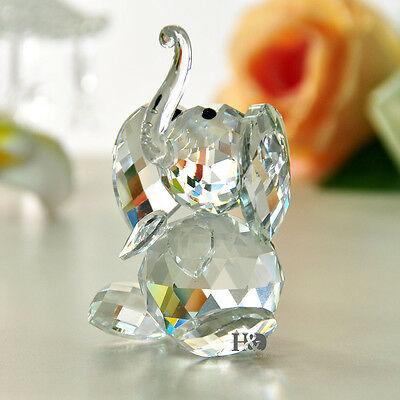 Vintage Dynamically Crystal Paperweight Happiness Elephant Shape Glass Xmas Gift