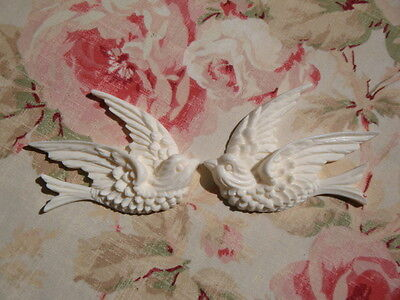 Shabby & Chic Swallow Bird Furniture Appliques 1 Pair L/R Architectural Onlay