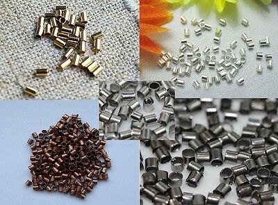 Crimp Beads 1.5 or 2MM TUBE Silver/Gold/Bronze/Black Plated US SELLER!