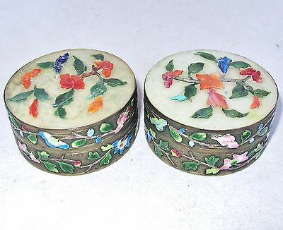 "Two 2.8"" Antique Chinese Enameled Round Metal Boxes with Serpentine & Carnelian"