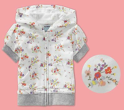old navy baby toddler girl floral print french Terry Hoodie hooded zip up jacket