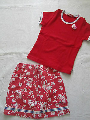 Girls Italian designer red outfit 2 PC set skirt and top shirt size 3y